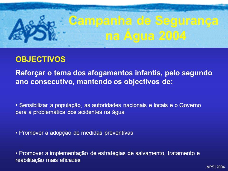 OBJECTIVOS Reforçar o tema dos afogamentos infantis, pelo segundo ano consecutivo, mantendo os objectivos de: