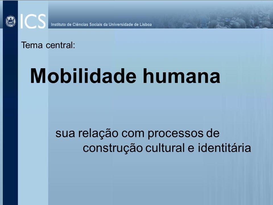 Tema central: Mobilidade humana sua relação com processos de construção cultural e identitária