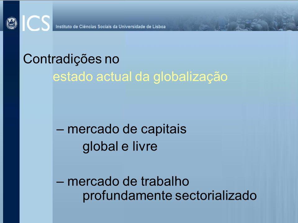 Contradições no estado actual da globalização. – mercado de capitais.
