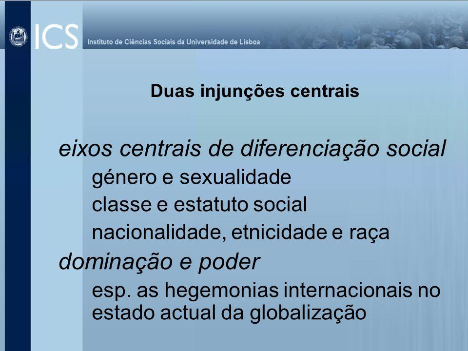 eixos centrais de diferenciação social