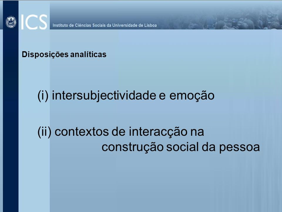 (i) intersubjectividade e emoção