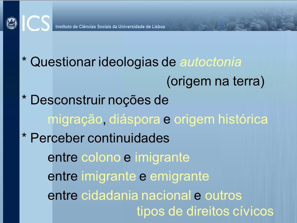 * Questionar ideologias de autoctonia