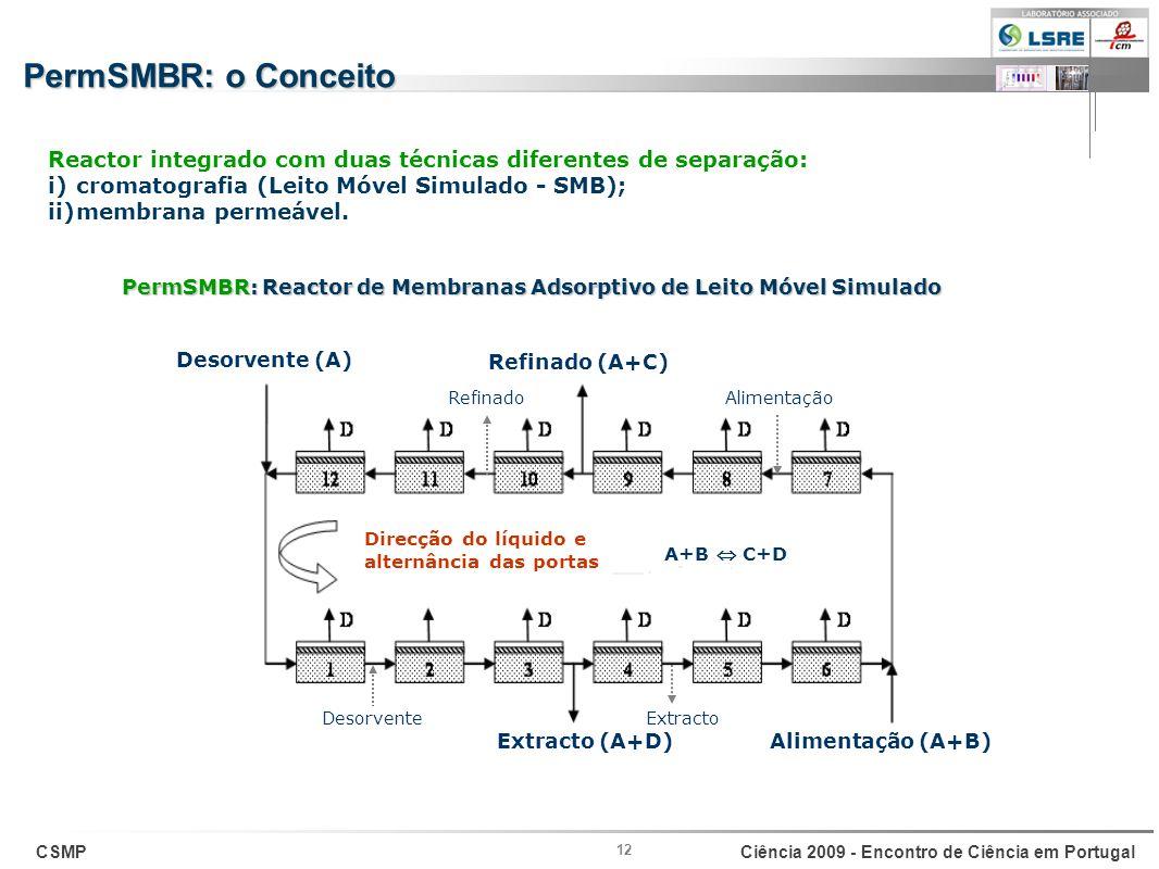 PermSMBR: o Conceito Reactor integrado com duas técnicas diferentes de separação: cromatografia (Leito Móvel Simulado - SMB);