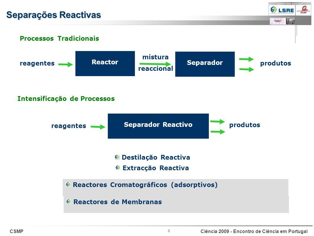 Separações Reactivas Processos Tradicionais Reactor mistura reaccional