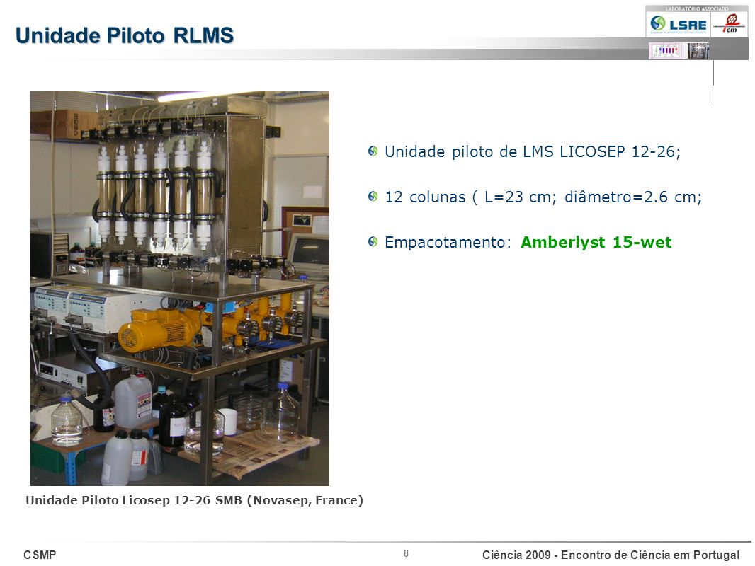 Unidade Piloto RLMS Unidade piloto de LMS LICOSEP 12-26;