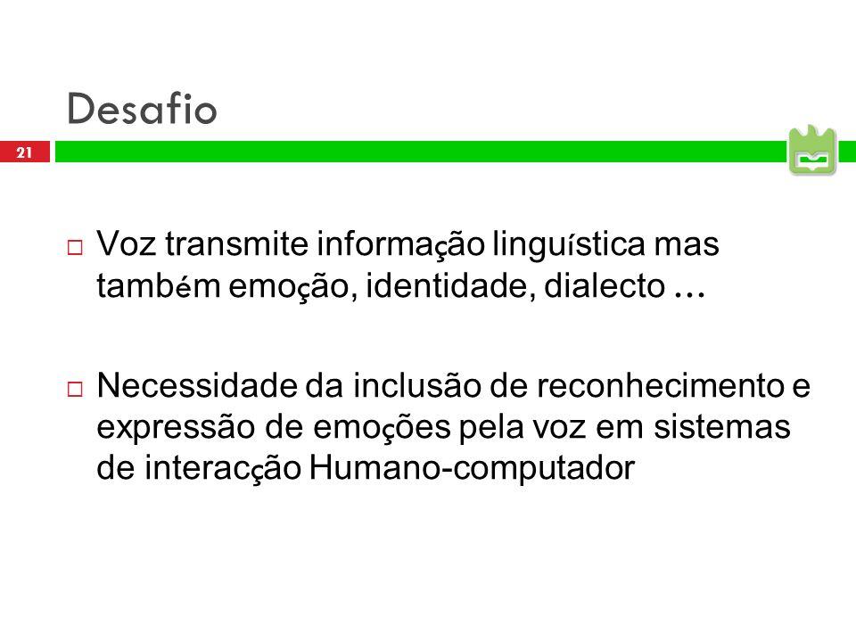 Desafio Voz transmite informação linguística mas também emoção, identidade, dialecto …