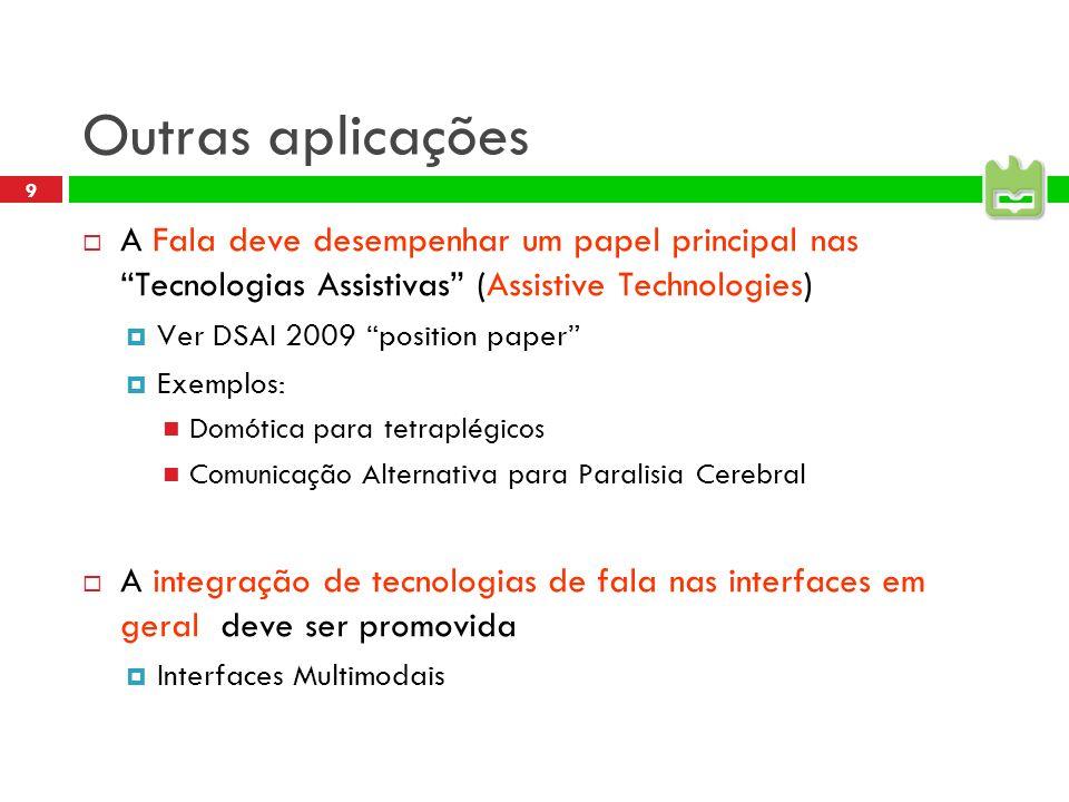 Outras aplicações A Fala deve desempenhar um papel principal nas Tecnologias Assistivas (Assistive Technologies)