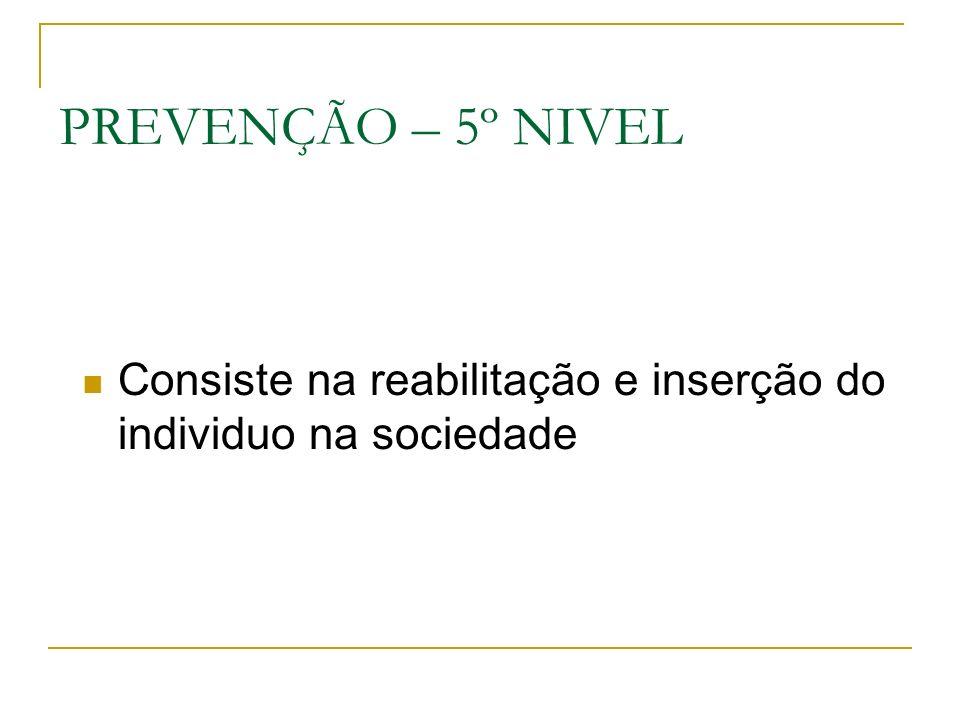 PREVENÇÃO – 5º NIVEL Consiste na reabilitação e inserção do individuo na sociedade