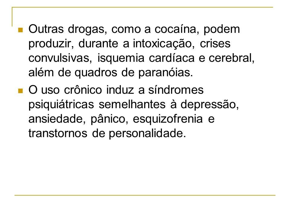 Outras drogas, como a cocaína, podem produzir, durante a intoxicação, crises convulsivas, isquemia cardíaca e cerebral, além de quadros de paranóias.