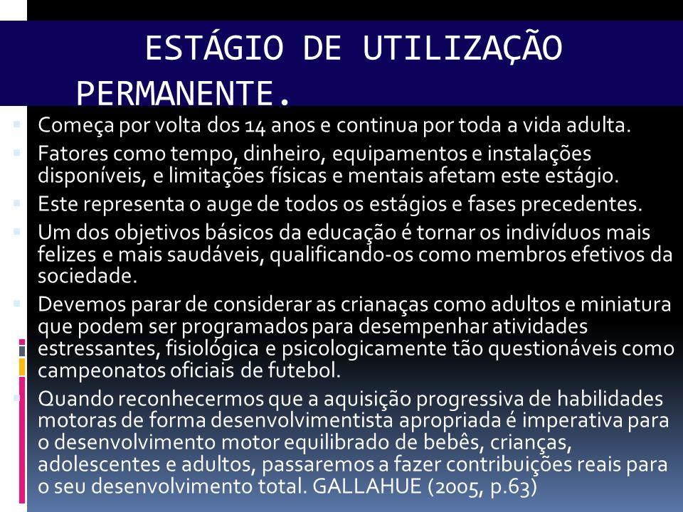 ESTÁGIO DE UTILIZAÇÃO PERMANENTE.