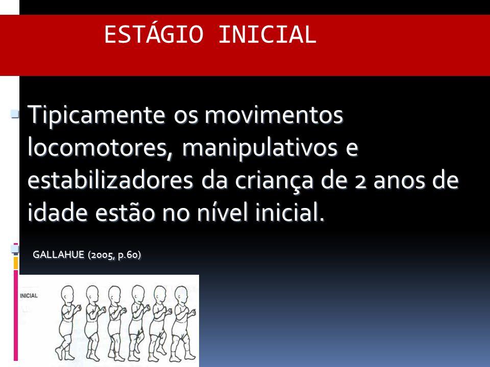 ESTÁGIO INICIAL Tipicamente os movimentos locomotores, manipulativos e estabilizadores da criança de 2 anos de idade estão no nível inicial.