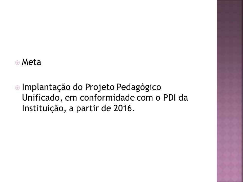 Meta Implantação do Projeto Pedagógico Unificado, em conformidade com o PDI da Instituição, a partir de 2016.