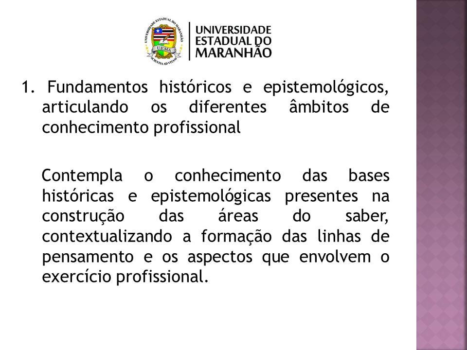 1. Fundamentos históricos e epistemológicos, articulando os diferentes âmbitos de conhecimento profissional