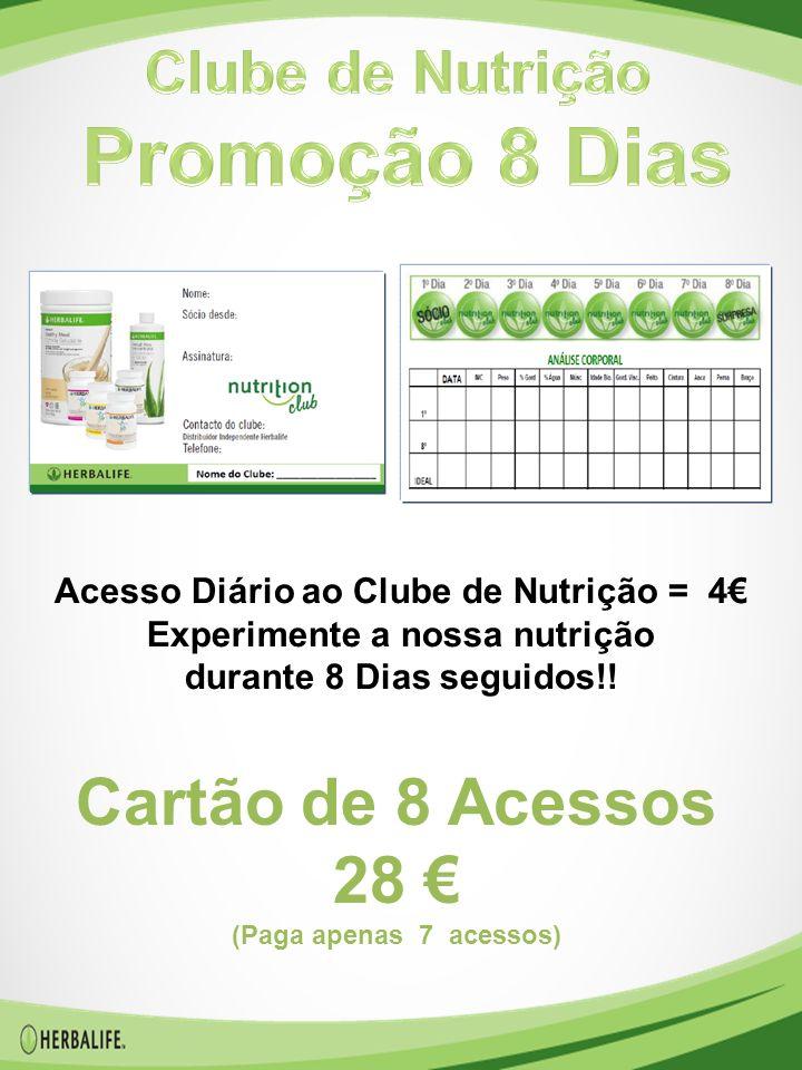 Acesso Diário ao Clube de Nutrição = 4€ Experimente a nossa nutrição