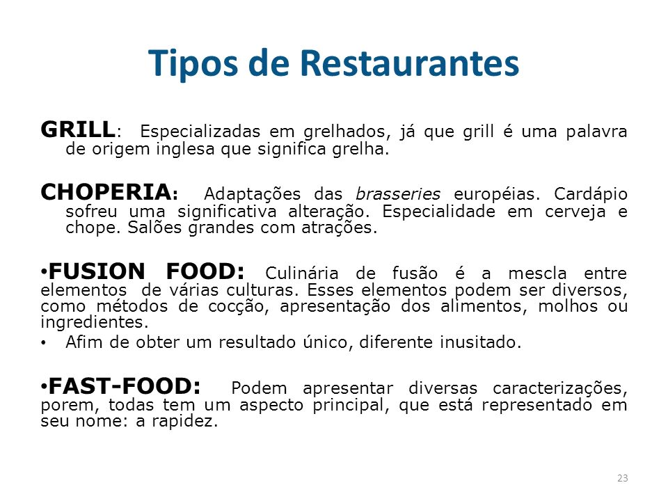 Alimentos bebidas ppt carregar for Tipos de restaurantes franceses