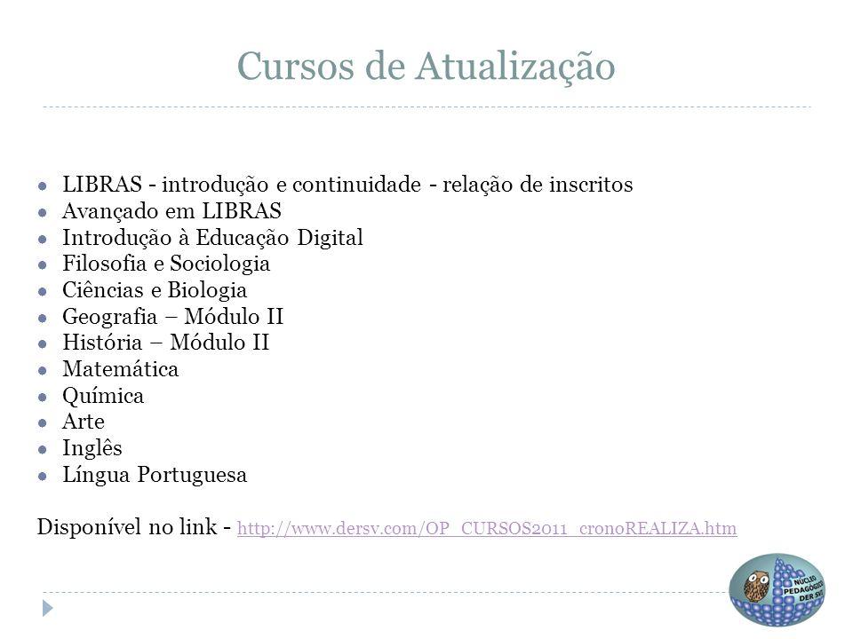 Cursos de Atualização LIBRAS - introdução e continuidade - relação de inscritos. Avançado em LIBRAS.
