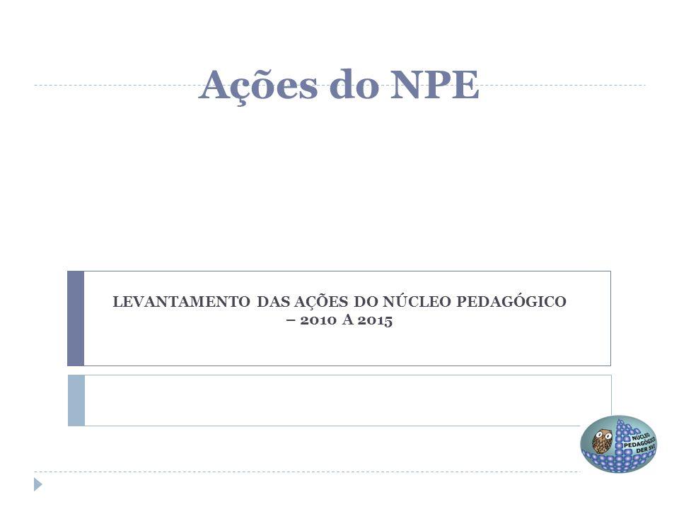 LEVANTAMENTO DAS AÇÕES DO NÚCLEO PEDAGÓGICO – 2010 A 2015