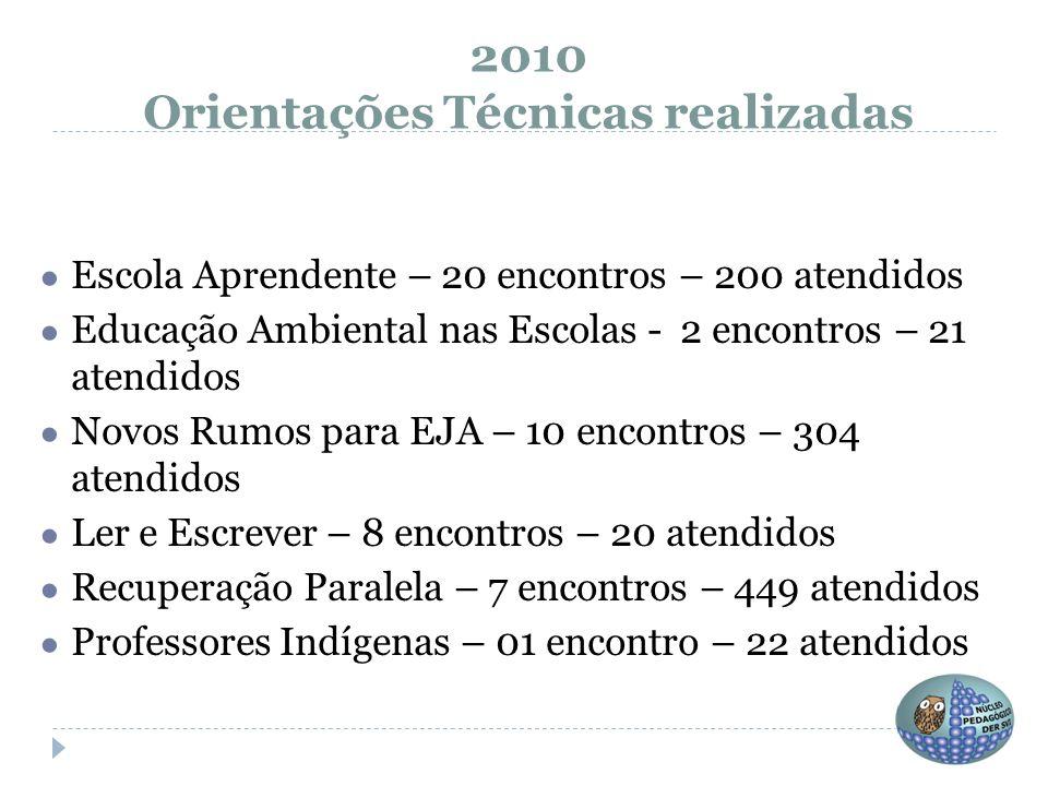 2010 Orientações Técnicas realizadas