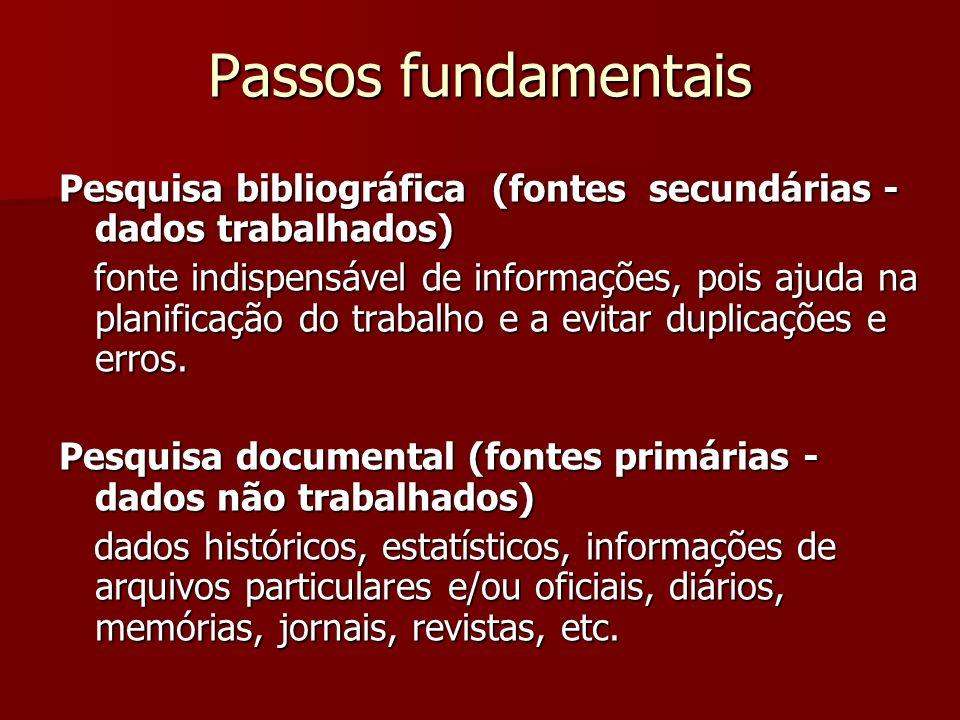 Passos fundamentais Pesquisa bibliográfica (fontes secundárias - dados trabalhados)