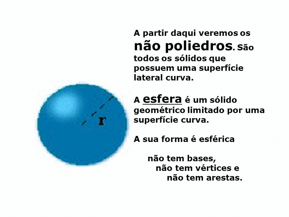A esfera é um sólido geométrico limitado por uma superfície curva.