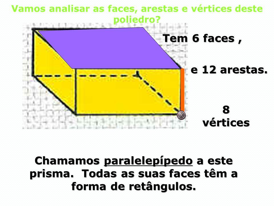 Vamos analisar as faces, arestas e vértices deste poliedro