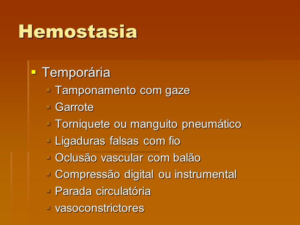 Hemostasia Temporária Tamponamento com gaze Garrote