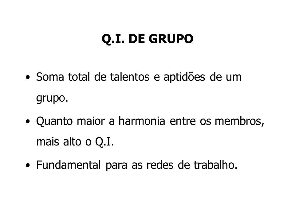 Q.I. DE GRUPO Soma total de talentos e aptidões de um grupo.