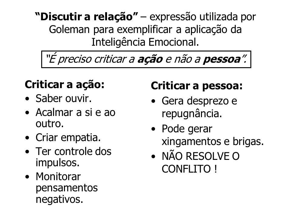 Discutir a relação – expressão utilizada por Goleman para exemplificar a aplicação da Inteligência Emocional.