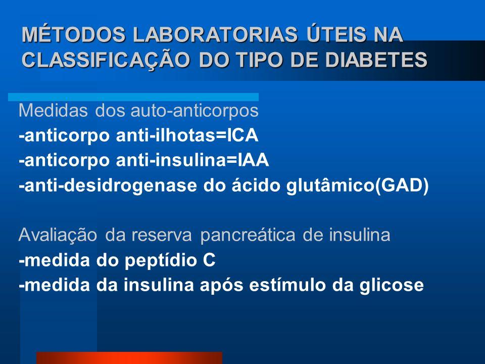MÉTODOS LABORATORIAS ÚTEIS NA CLASSIFICAÇÃO DO TIPO DE DIABETES