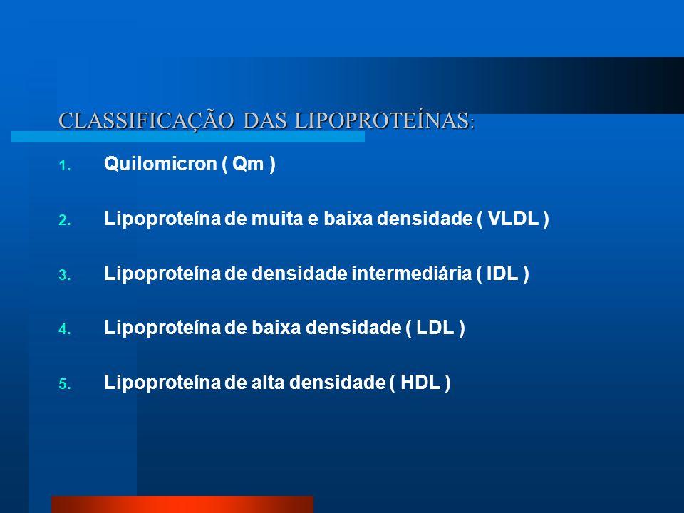 CLASSIFICAÇÃO DAS LIPOPROTEÍNAS: