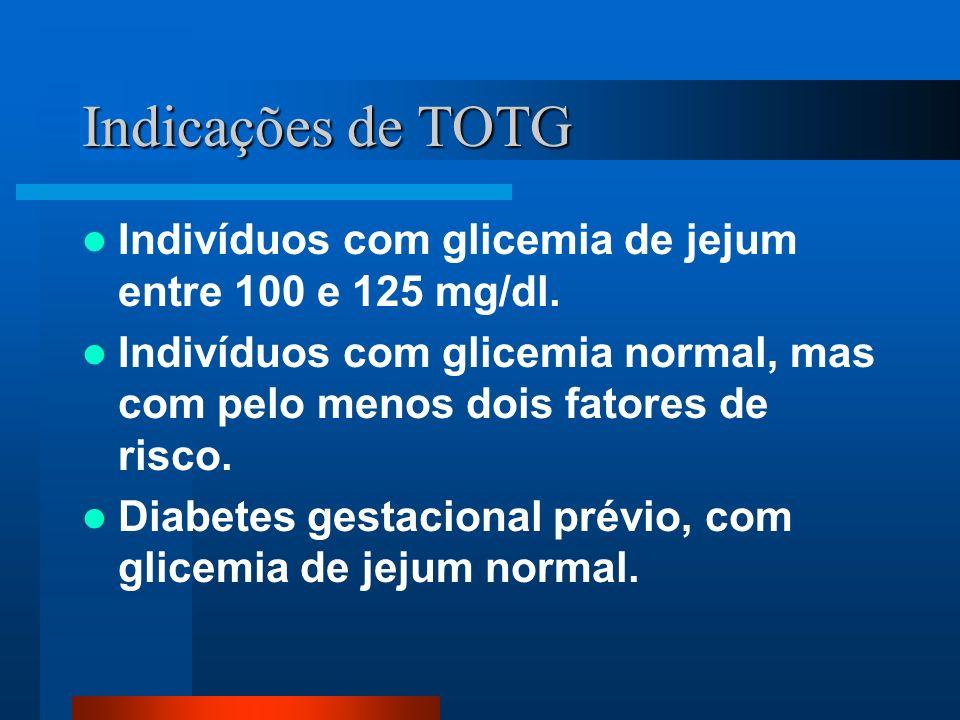 Indicações de TOTG Indivíduos com glicemia de jejum entre 100 e 125 mg/dl. Indivíduos com glicemia normal, mas com pelo menos dois fatores de risco.