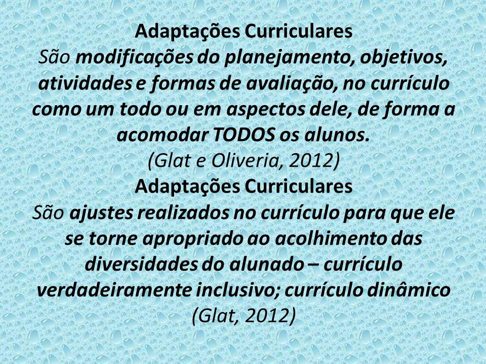 Adaptações Curriculares São modificações do planejamento, objetivos, atividades e formas de avaliação, no currículo como um todo ou em aspectos dele, de forma a acomodar TODOS os alunos.