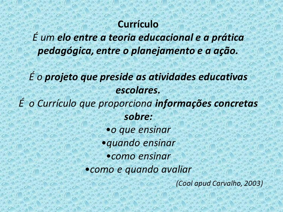 Currículo É um elo entre a teoria educacional e a prática pedagógica, entre o planejamento e a ação.