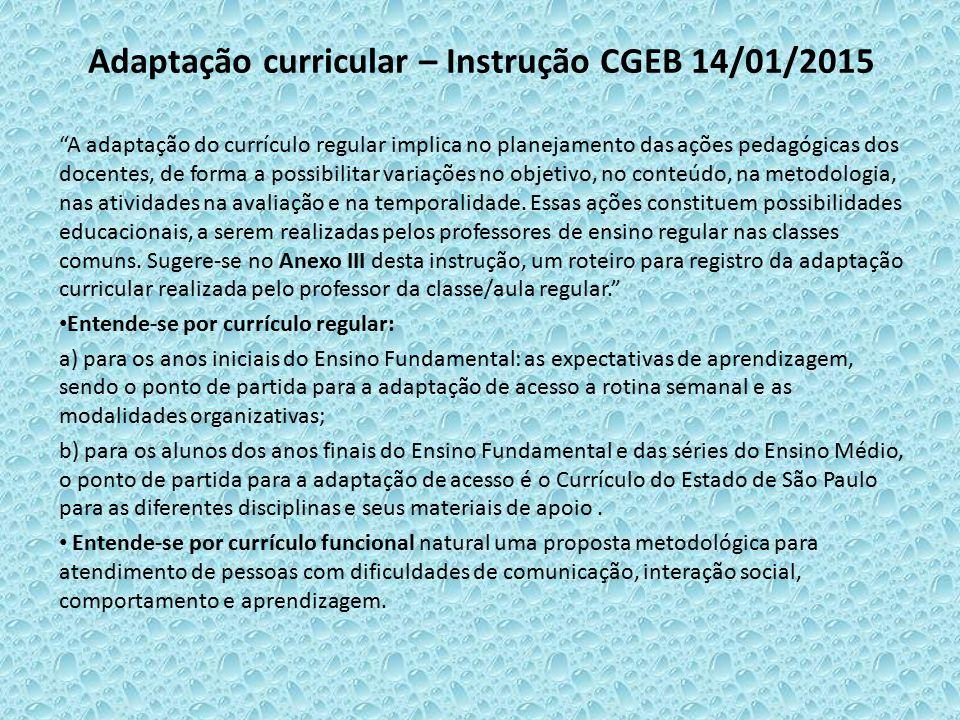 Adaptação curricular – Instrução CGEB 14/01/2015