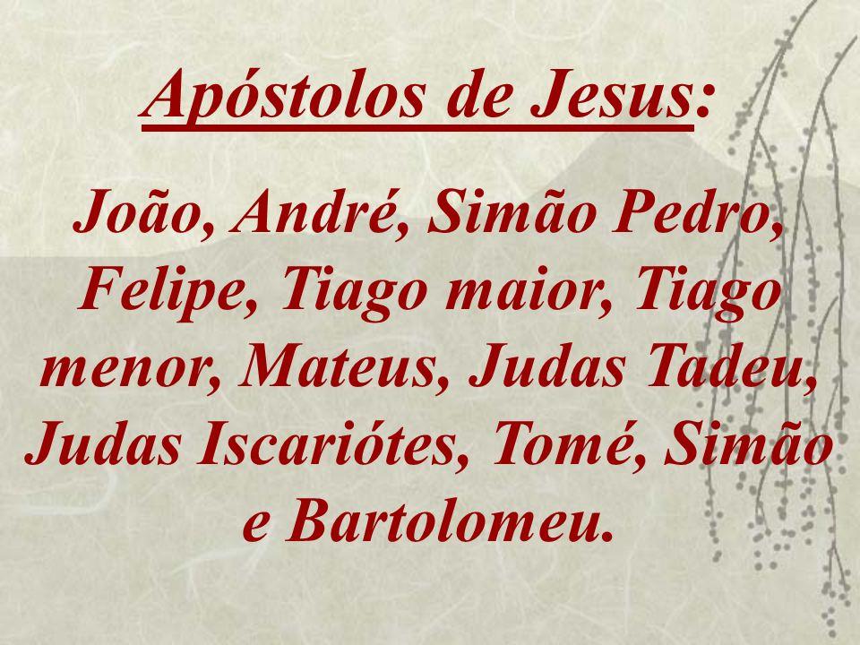 Apóstolos de Jesus: João, André, Simão Pedro, Felipe, Tiago maior, Tiago menor, Mateus, Judas Tadeu, Judas Iscariótes, Tomé, Simão e Bartolomeu.