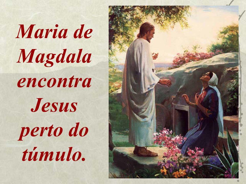 Maria de Magdala encontra Jesus perto do túmulo.