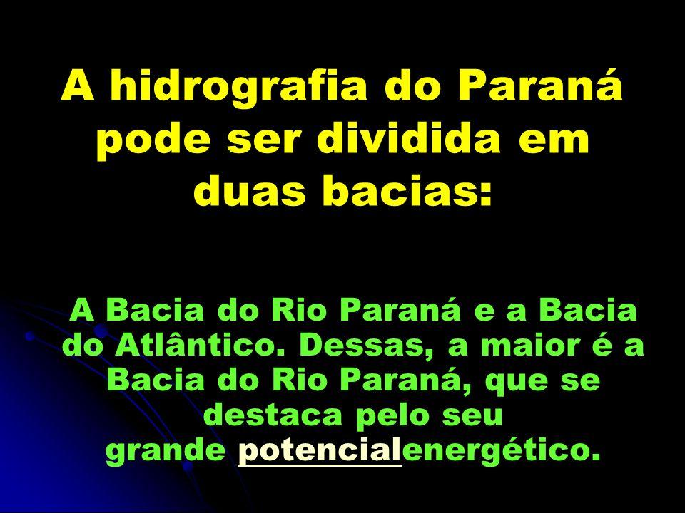 A hidrografia do Paraná pode ser dividida em duas bacias:
