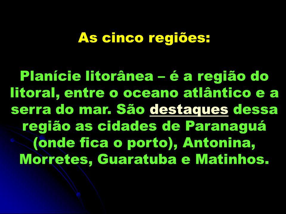 As cinco regiões: