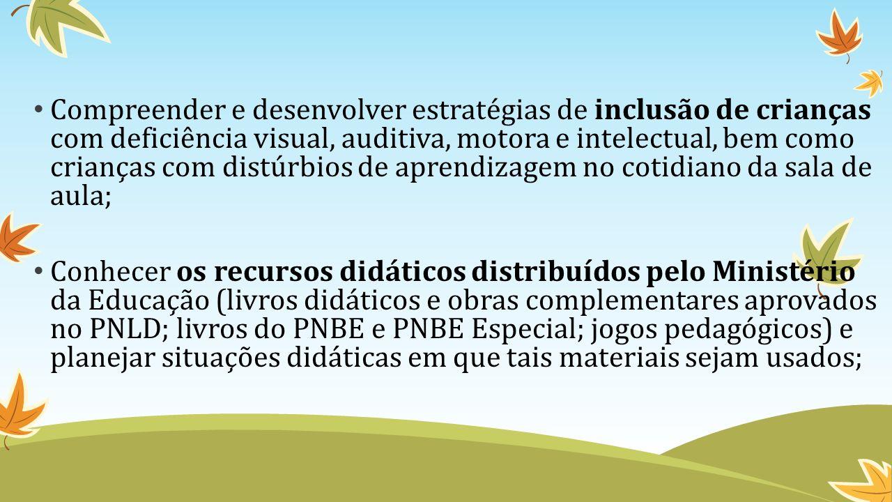 Compreender e desenvolver estratégias de inclusão de crianças com deficiência visual, auditiva, motora e intelectual, bem como crianças com distúrbios de aprendizagem no cotidiano da sala de aula;