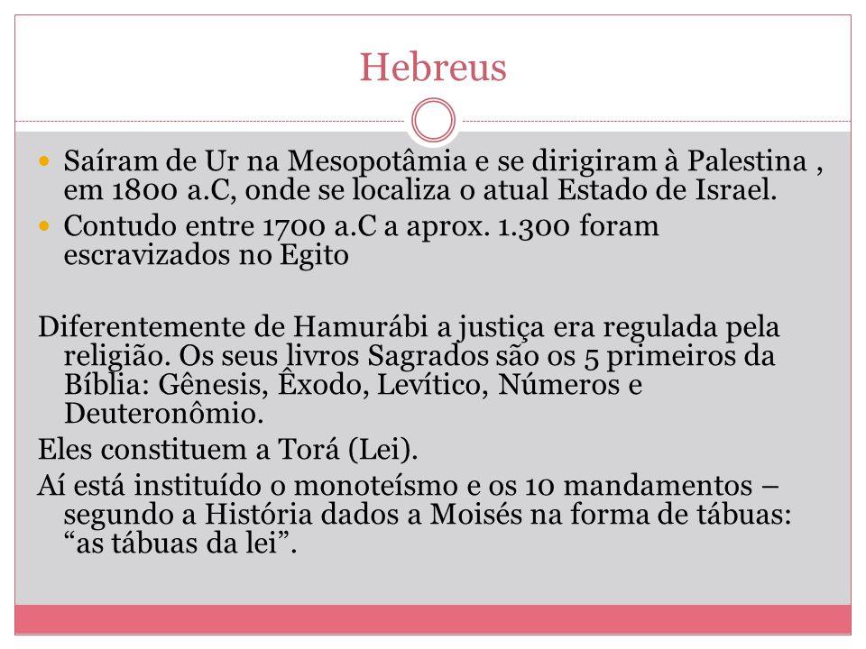 Hebreus Saíram de Ur na Mesopotâmia e se dirigiram à Palestina , em 1800 a.C, onde se localiza o atual Estado de Israel.