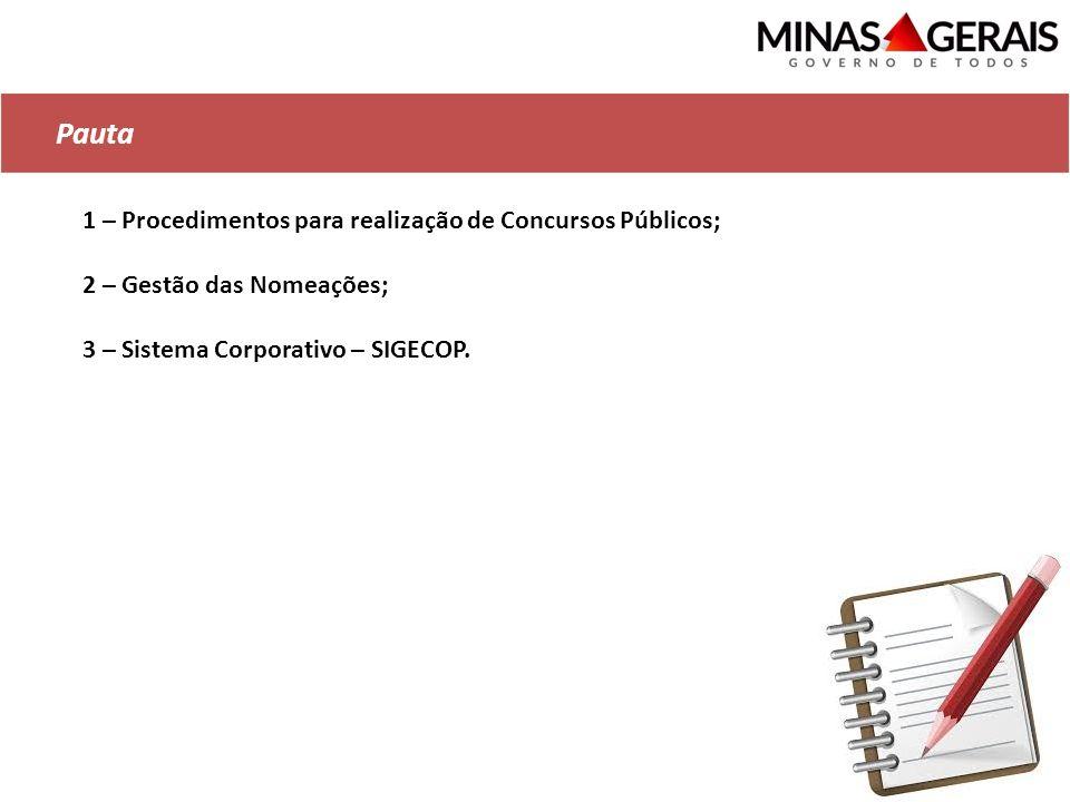 Pauta 1 – Procedimentos para realização de Concursos Públicos;