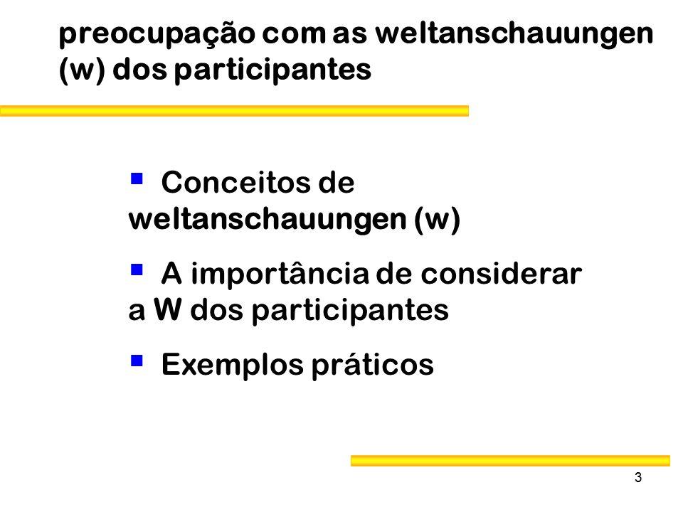 preocupação com as weltanschauungen (w) dos participantes