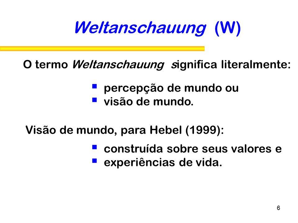 Weltanschauung (W) O termo Weltanschauung significa literalmente: