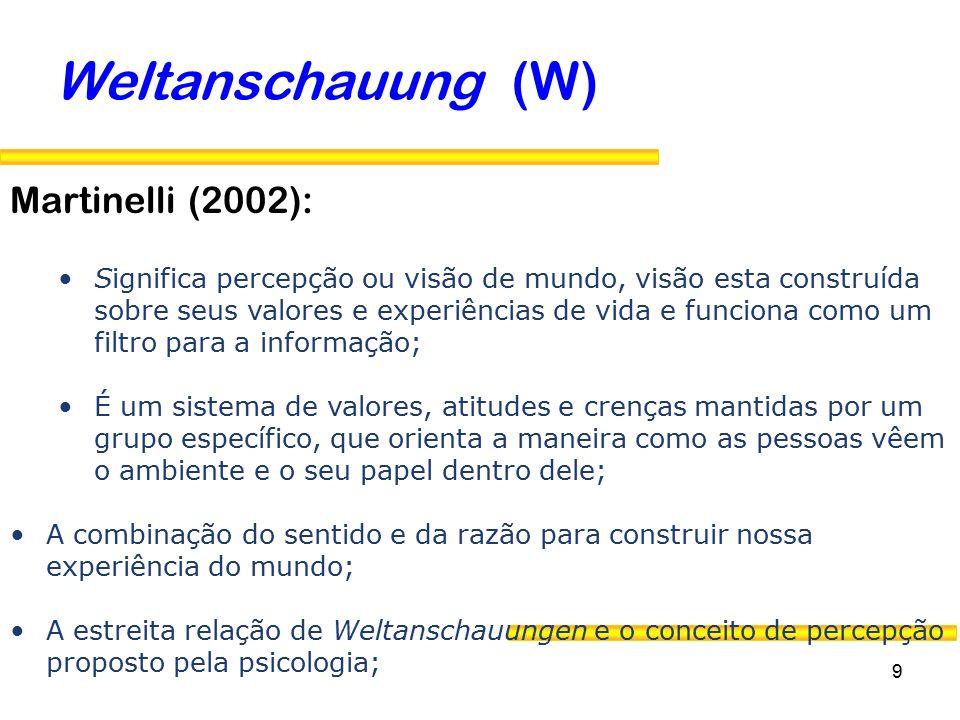 Weltanschauung (W) Martinelli (2002):
