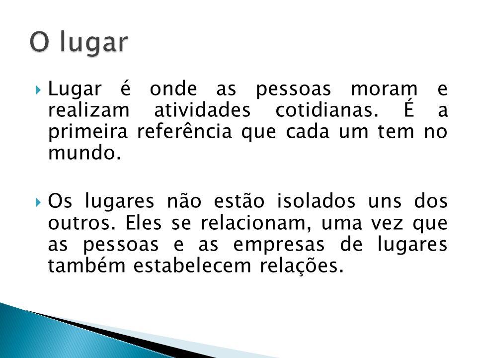 O lugar Lugar é onde as pessoas moram e realizam atividades cotidianas. É a primeira referência que cada um tem no mundo.