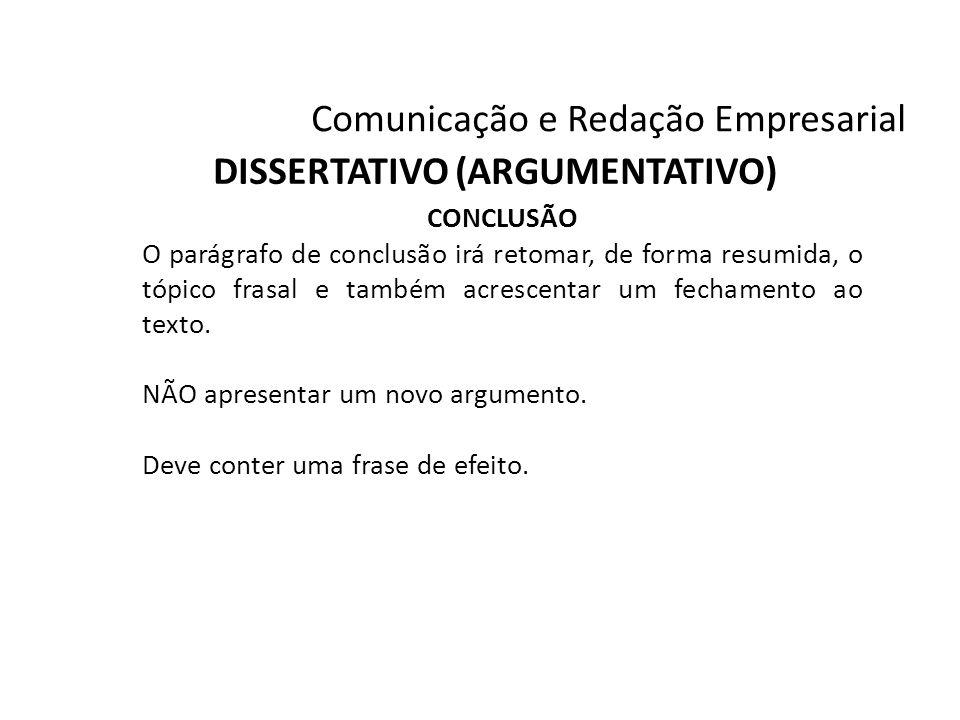 DISSERTATIVO (ARGUMENTATIVO)