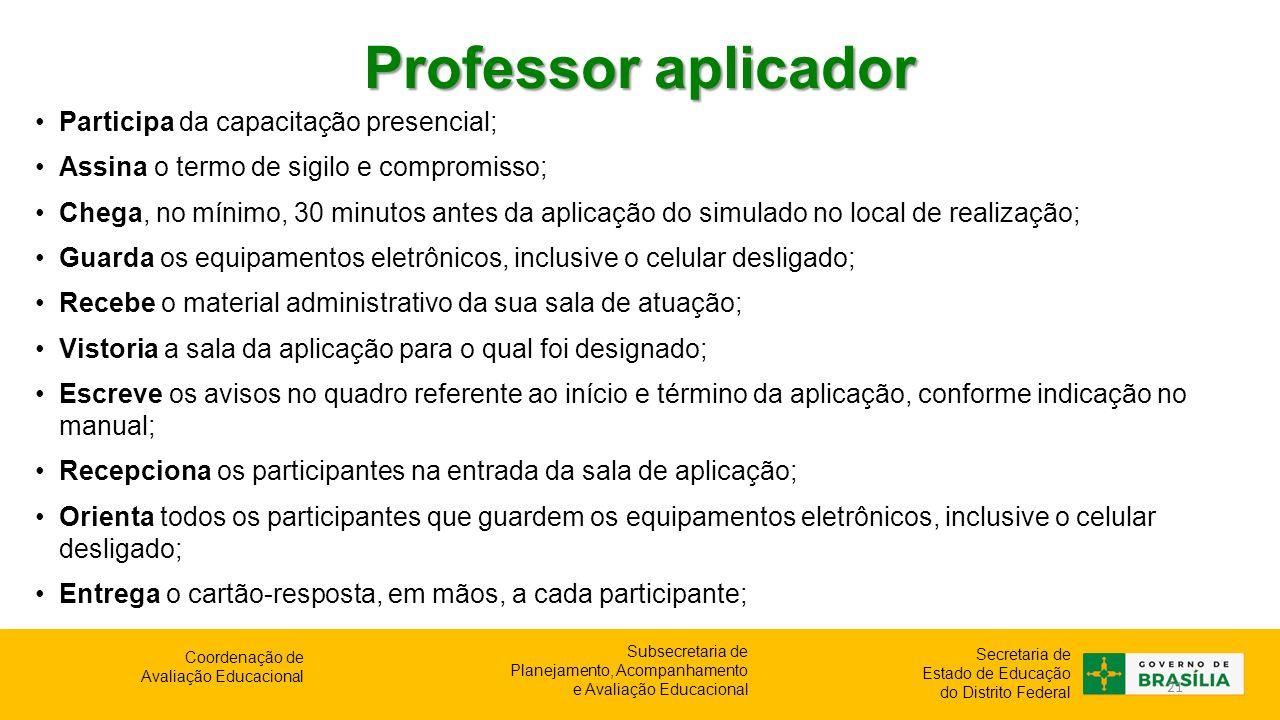 Professor aplicador Participa da capacitação presencial;