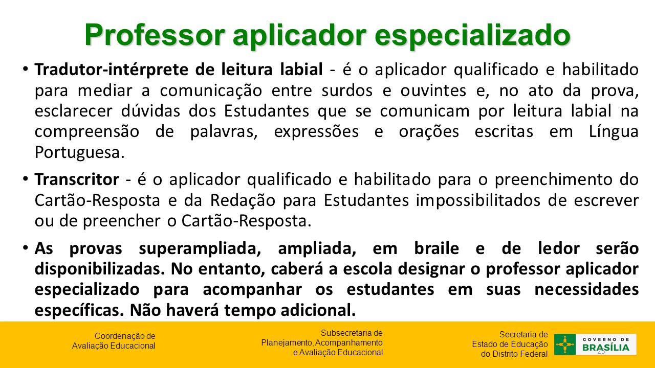 Professor aplicador especializado