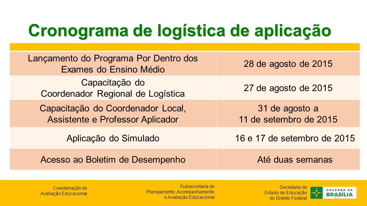 Cronograma de logística de aplicação