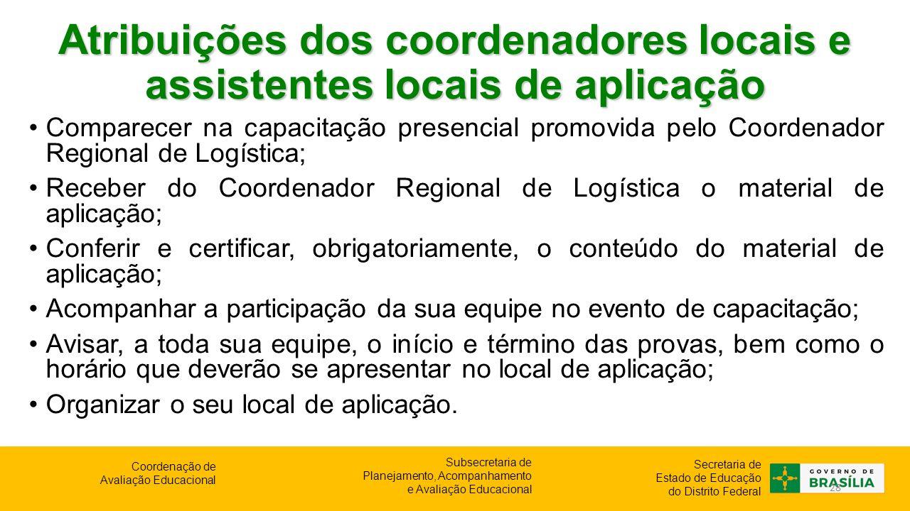 Atribuições dos coordenadores locais e assistentes locais de aplicação